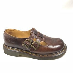 Dr Martens Womens Brown Leather Double Buckle